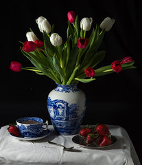 Red, White, and Blue (lclower19) Tags: atsh classic 52in2017 week14 infullbloom flowers tulips china strawberries base teacup sb600