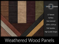 [VT] Weathered Wood Panels (VirtualTextures) Tags: textures secondlife wood panels boards parquet oak pine cedar weathered distressed rustic hardwood bamboo mahogany