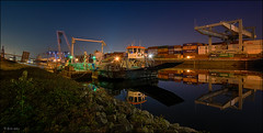 Containerhafen in Mannheim DRI (Eric mit c) Tags: mannheim hafen rhein container kran spiegelung nachtlichter ufer dri hdr sony alpha a7