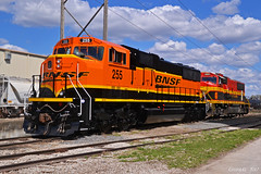 "BNSF and KCS Locomotives in Kansas City, MO (""Righteous"" Grant G.) Tags: bnsf railroad railway kcs kansas city southern lines missouri emd power locomotive train trains engine midamerica car freight"