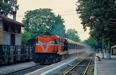 Diesel thunder at Acharnai (rolfstumpf) Tags: greece hellas athens acharnai mlw mx627 a468 passengertrain trains station travel transport alco locomotive dog tracks ose fujichrome mamiya