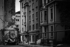 This is a Crazy World (parenthesedemparenthese@yahoo.com) Tags: dem architecture bn blackwandwhite einstein ete façade monochrome nb noiretblanc streetart streetphotgraphy windows bnw bulgarie byn canon600d conteneurpoubelle dehors ef50mmf18ii fenêtres graffitti outdoor rubbishcontainer sofia streetphotographie summer
