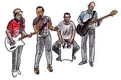"Vangelis Sopamena (h e r m a n) Tags: ""studiodebakkerij"" rotterdam bergweg gistpodium muziek music musica muzika gitaar guitar herman illustratie tekening 10x10cm vangelissopamena bas"
