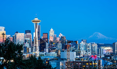 Seattle - Blue Hours - Space Needle (Rohan Mhatre) Tags: 5dmarkii america blue hour building canon city colorphotoaward downtown dusk explore explored grunge light night noche noctambule nocturne nocturnes northwest nuit pacific puget sound scenery seattle sky skyline skyscraper sunset tower town twilight usa view vista washington architecture outdoor mt rainier