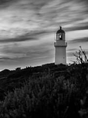 Easter Sunday Sunset at Cape Schanck Lighthouse (Craig Siczak) Tags: capeschanck morningtonpeninsula leica leicavlux4 victoria australia australian coastline victoriancoastline lighthouse sunset ocean capeschancklighthouse bassstrait monochrome blackwhite