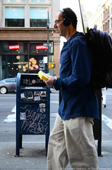 FARO, MKUE (Turnstile Hopper) Tags: new york city nyc blue ny newyork streets mailbox bag walking faro graffiti glasses book back store head walk manhattan tag graf tags pack vandal mq backpack vandalism headphones graff bookbag staples bombed phones vandalize vandalized mkue