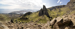 Storr Hills (S.MacImages) Tags: old blue sea sky sun man skye green rock clouds scotland hills isle storr