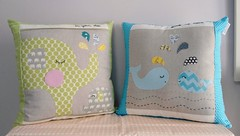 Nursery patchwork pillows (sewhappiness) Tags: home me nursery steps pillows your whales elephants guide patchwork