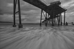 Wash (pominoz) Tags: sea dawn pier blackwhite jetty nsw damaged whark catho catherinehillbay