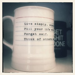 Live Simply... (136/365) (patrickthehuman) Tags: smile office funny artistic random lol humor simplicity laugh mug inside productivity coffeemug tgif iphone officehumor project365 iphone365 snapseed 2014pad
