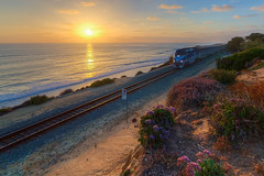 Sunset on the Coast (Above and Below the Waterline) Tags: ocean sunset beach train amtrak