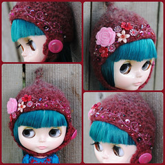 The Folklore Tonttu Helmet: Cherry Fizz (Euro_Trash) Tags: flowers red wool cherry grey embroidery buttons handknit website eurotrash handfelted lovecare tonttuhelmet handmadeforblythe feltrose
