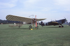 Bleriot XI & Spitfire Vc (Pentakrom) Tags: old aircraft aviation collection warden 1986 shuttleworth bleriot xi supermarine gaang spirfire ar501 gawii