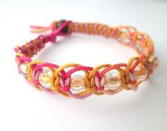 Summer Pink/Yellow Hemp Bracelet (jackzenhemp) Tags: pink summer yellow jewelry anklet hemp