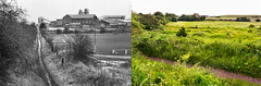 Creswell Colliery and sports field, 1992, and the how the cleared site looks in 2014 (John / Arc-Images) Tags: derbyshire demolition mining 1993 1992 1995 coal creswell colliery