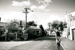 I Walk Alone (☁ rachelloooow) Tags: road sky blackandwhite woman white black girl monochrome clouds self hair walking alone wind walk lane lone lonely