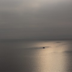 The vastness of the sea... (Beeke...) Tags: ocean canada nature monochrome fog boat bc horizon whiterock schiff sunbeam heavenandearth diesee minimalistsea