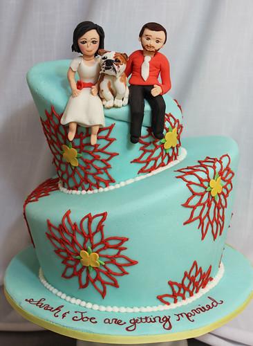 bride groom topsy turvy wedding cake med