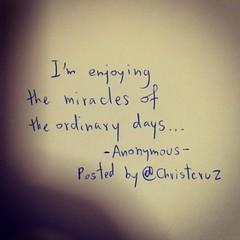 ฉันกำลังรื่นเริงกับสิ่งอัศจรรย์ในทุกๆวันธรรมดาๆนี่แหละ #christcruz #wordofinspiration #anonymous