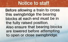 Oxford Swingbridge Sign (R~P~M) Tags: uk greatbritain bridge england sign train unitedkingdom railway oxford oxfordshire britishrail swingbridge oxon lnwr
