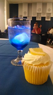Glowing drink and cupcake