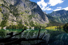 Knigssee, Germany (JiaSiDingLin) Tags: blue sky white lake snow mountains green water clouds river germany landscape boat colorful europe crystal      knigssee