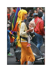 untitled (PIKTORIO) Tags: street family baby berlin kreuzberg germany demo costume outfit child flag mother parade blonde csd role whig calinago