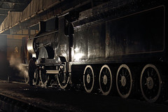 Finishing touches (Treflyn) Tags: heritage train evening photo events centre touch shed rail railway loco photographic class steam final oil timeline driver locomotive 440 didcot adds drummond charter finishing touches t9 lswr 30120