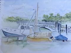 image (Gregelope) Tags: water painting boats artwork harbour handmade sketching shore tranquil craftsmanship craftwork serenitynow lightandshade