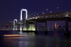 The Rainbow Bridge, Tokyo, night view (Masa_N) Tags: bridge light seascape japan night tokyo boat cityscape trail tokyotower odaiba tokyobay rainbowbridge rainyseason odaibaseasidepark tokyoport
