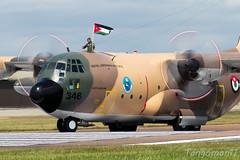 Jordanian Air Force Herc (Tangoman11) Tags: flag aircraft cargo jordan airforce lockheed hercules prop transporter c130 fairford 346 desertcamo royaljordanianairforce rjaf jordanianairforce rotorblur gutsairline riat2014