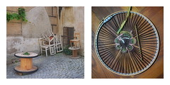 29.7.2014: Corner, 2 Cable Drum Tables, 6 Stacked Chairs, Wine, Window, Grilles / Weaving Phantom Pain of the Felled Tree, Improvisation 12: Danish Medallion Stitch - Outing Krems an der Donau - Minoritenplatz 3504 Krems-Stein (hedbavny) Tags: vienna trip red tree art wool wall corner table rouge austria stillleben chair outsiderart decay kunst rad tint cotton ausflug artbrut dye recycle stumpf tisch rosso stein rund weaving weave baum ecke danube niedersterreich circular weber outing loom wachau tapestry reise krems donau atelier sessel procrustes webstuhl baumwolle wolle narrenturm werkstatt tapisserie felled kabeltrommel gefllt abgeholzt baumstumpf weben rottne minoritenplatz weberei upcycling amputiert aktionismus weavingloom rodung handgefrbt selbstgefrbt phantomschmerz bildwirkerei prokrustes hedbavny ingridhedbavny rundweben danishmedallionstitch