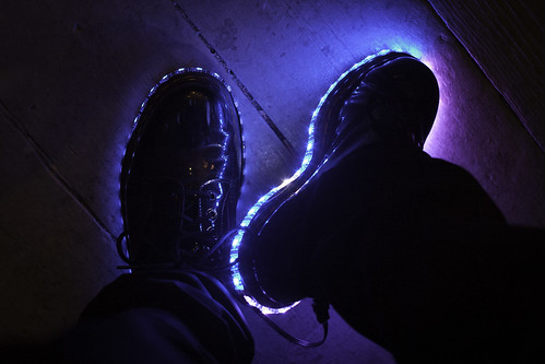 brooklyn shiny gemma led cc electronics hack patentleather docs docmartens electricshoes adafruit nycr nycresistor wwward0