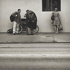 200 nine   365 III (Randomographer) Tags: life street people woman white man black building window bike standing bag concrete photography three looking being homeless monotone sidewalk human 365 talking 209 struggling project365