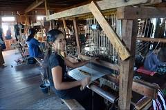 30098743 (wolfgangkaehler) Tags: asia asian southeastasia myanmar burma burmese inlelake villagelife lake innpawkhonevillage woman workshop people worker working weaver weaving weavingloom weavinglooms weavingcloth loom looms