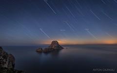 Star trails , Es Vedra , Ibiza ... (Anton Calpagiu) Tags: sirius orion betelgeuse startrails nightscape seascape esvedra irix ibiza island stars