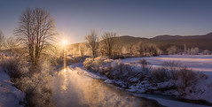 Dead Of Winter (VermontScapes) Tags: west branch river stowe vt vermont pretty water rime cold winter ice sunrise glow panorama