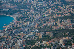 Flying Over Jounieh, Lebanon (Paul Saad) Tags: lebanon sky fly paragliding jounieh tabarka nikon traffic view mountains