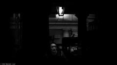 The frightened man (Neil. Moralee) Tags: londonneilmoralee evil sinful immoral wrong corrupt blackhearted ungodly unholy irreligious unrighteous sacrilegious profane blasphemous impious base mean vile black white mono monochrome nikon d7100 neil moralee bandw blackandwhite dark sinister contrast man face lamp odd weird