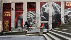"""Lyon - Façade du théatre """" Le nombril du monde """". (Gilles Daligand) Tags: lyon rhone façade théatre lenombrildumonde croixrousse pentes murpeint streetart escaliers cycliste panasonic gx7"""