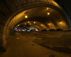 Queensboro Bridge Underpass (@harryshuldman) Tags: 59th 59 fifty nine ninth street bridge fisheye canon eos 7d mark ii nyc manhattan midtown east guastavino tile arch ceiling architecture night underpass queensboro queensborobridge ed koch