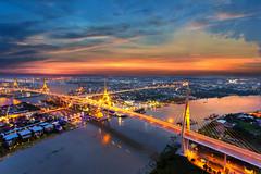 8123 (Mangpink) Tags: bangkok city bridge water reflection thailand viw aerialview night sunset light transport cityscape comerce building high car export twilight beautiful chaophraya river