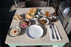 Manta Ray Meze (caprilemon) Tags: israel telaviv middleeast meze hummus ceviche sumac redonion focaccia cauliflower salad oliveoil beer craftbeer tuna tartar tomato food beachrestaurant mantaray