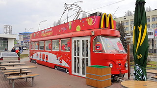 Old Tatra tram as playground at McDonald's in Kiev, Ukraine