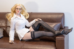 Business Affairs (edwicks_toybox) Tags: 16scale popx23 blonde businesssuit dressshirt eyeglasses femaleactionfigure highheels jacket kimitoys poptoys skirt stockings verycool