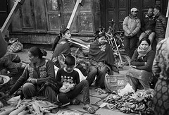 Nepalese morning market (Anis Binkason) Tags: blackandwhite film leicam6 leitz40mm nepal market local kodak tmax40 monochorme street