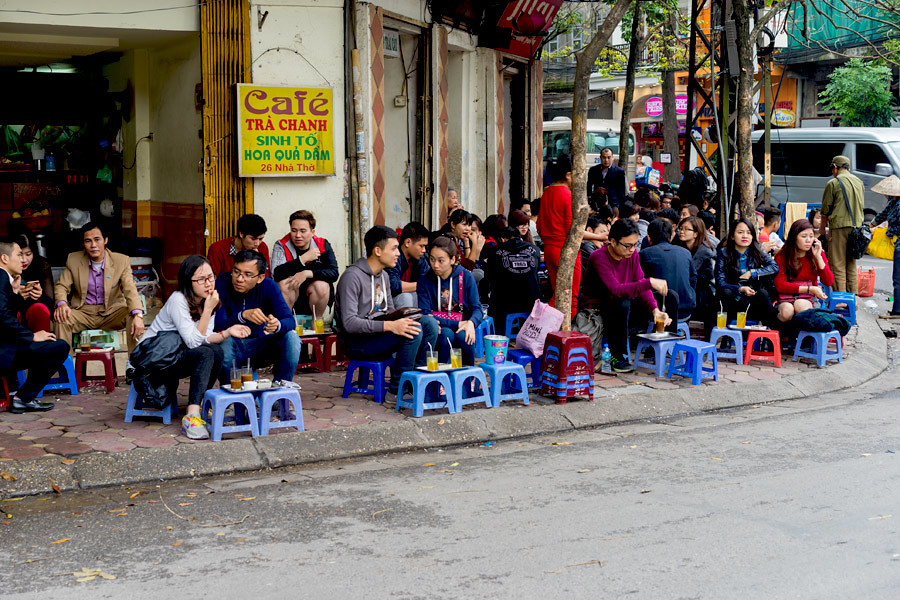 Drinking tea by the street is a typical culture of Hanoi Vietnam