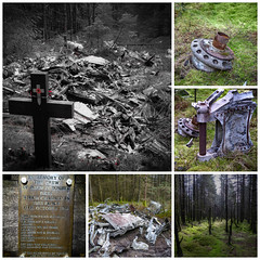 Halifax DK116 Crashsite. (CamraMan.) Tags: crashsite glendhuhill kershopeforest kielderforest cumbria northumbria forest cuddyshall cross airmen wreckage remote ©davidliddle panasoniclumixtz60 collage felltop moor marvenscleugh halifaxdk116 handleypage ww2 exercise fire uk