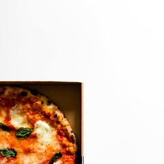 Quarter in a quarter (Sober Rabbit) Tags: geometry circle colors composition creativity emptyspace inscription pizza margherita italy pizzatime proportion square minimal white mozzarella