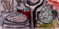 eating at the chinese place - taste the red sauce, its hot (raumoberbayern) Tags: station bahnhof sketchbook skizzenbuch tram munich bus strasenbahn pencil bleistift ballpoint paper papier robbbilder stadt city landschaft landscape spring frühling summer sommer trip germany münchen food lebensmittel essen menü china restaurant